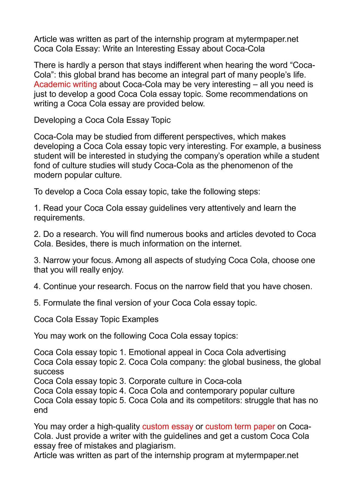 calamo   coca cola essay write an interesting essay about coca cola