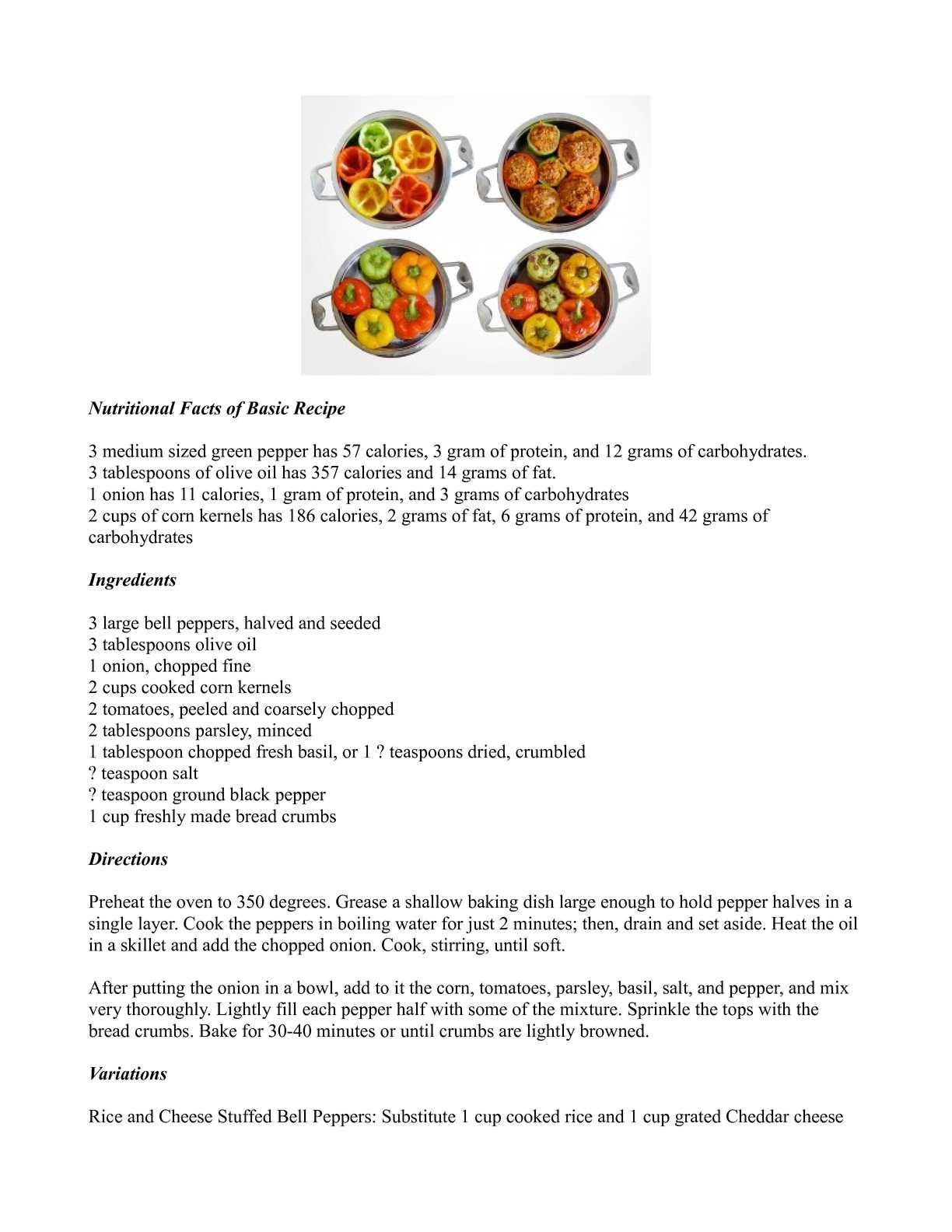 Calaméo - Stuffed Bell Peppers Basic Recipe with Variations
