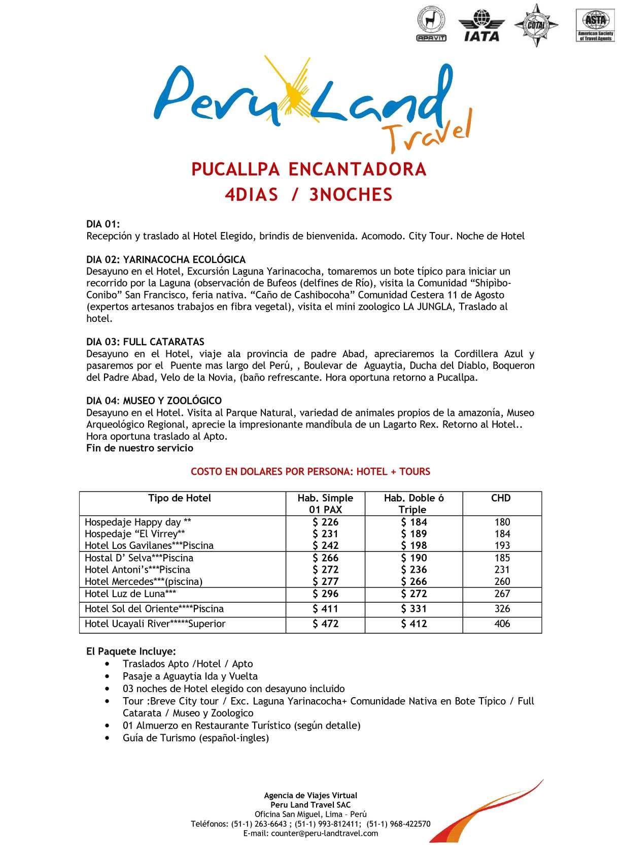 8f78ea543a Calaméo - PUCALLPA ENCANTADORAL 4DIAS 3NOCHES