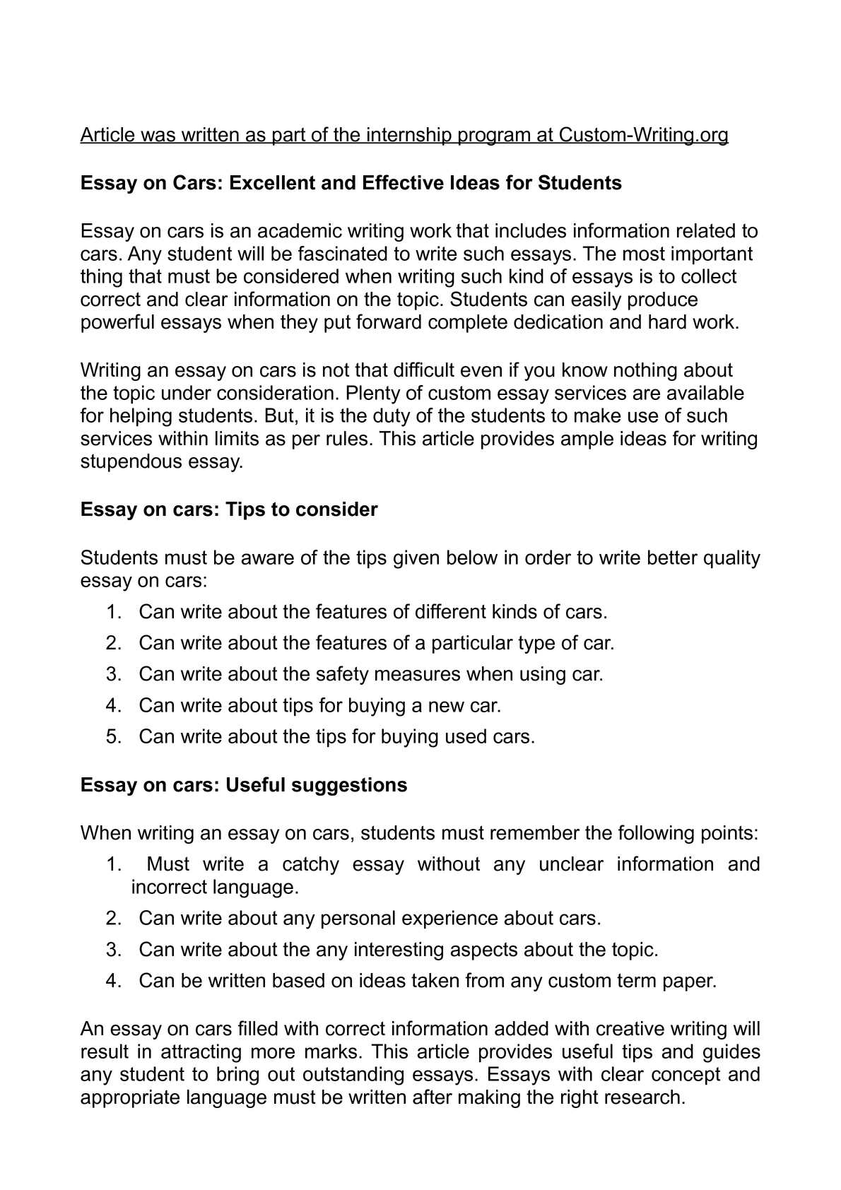 Calaméo - Essay on Cars: Excellent and Effective Ideas for Students