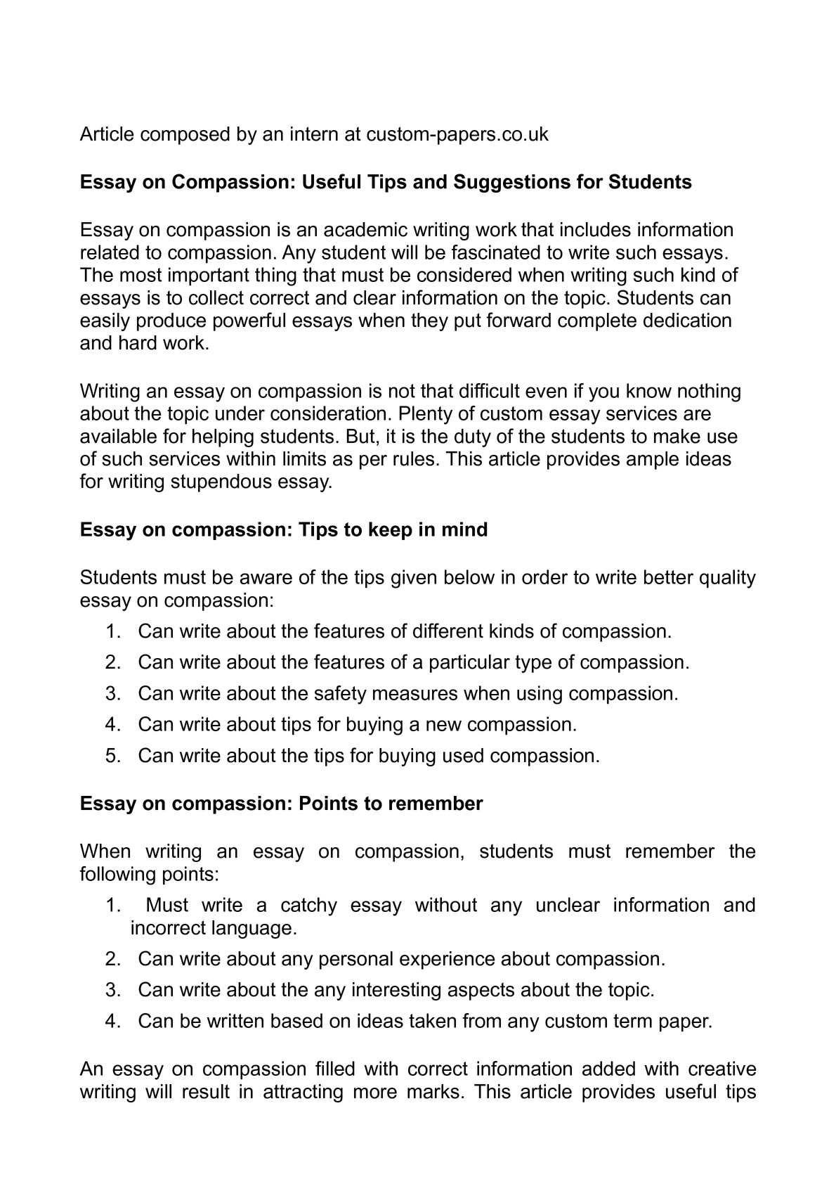 Empathy and Compassion Essay