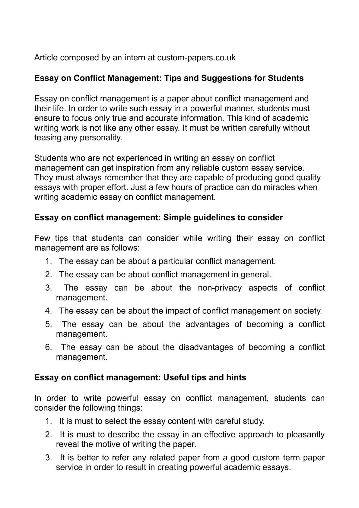A Level English Essay Structure  Thesis Essay also Essays On Science Calamo  Essay On Conflict Management Tips And Suggestions  High School Personal Statement Sample Essays