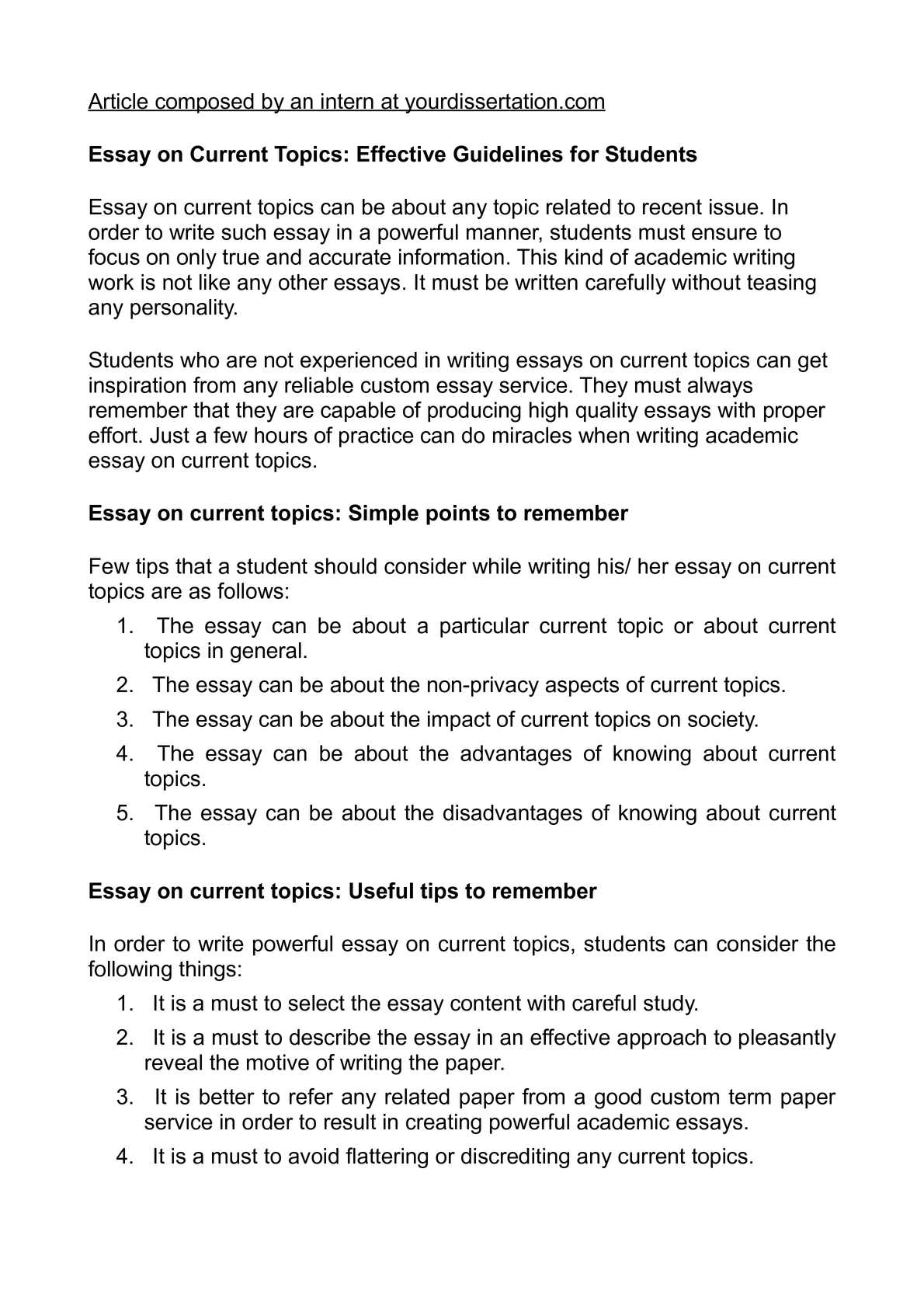 essay topics for college students