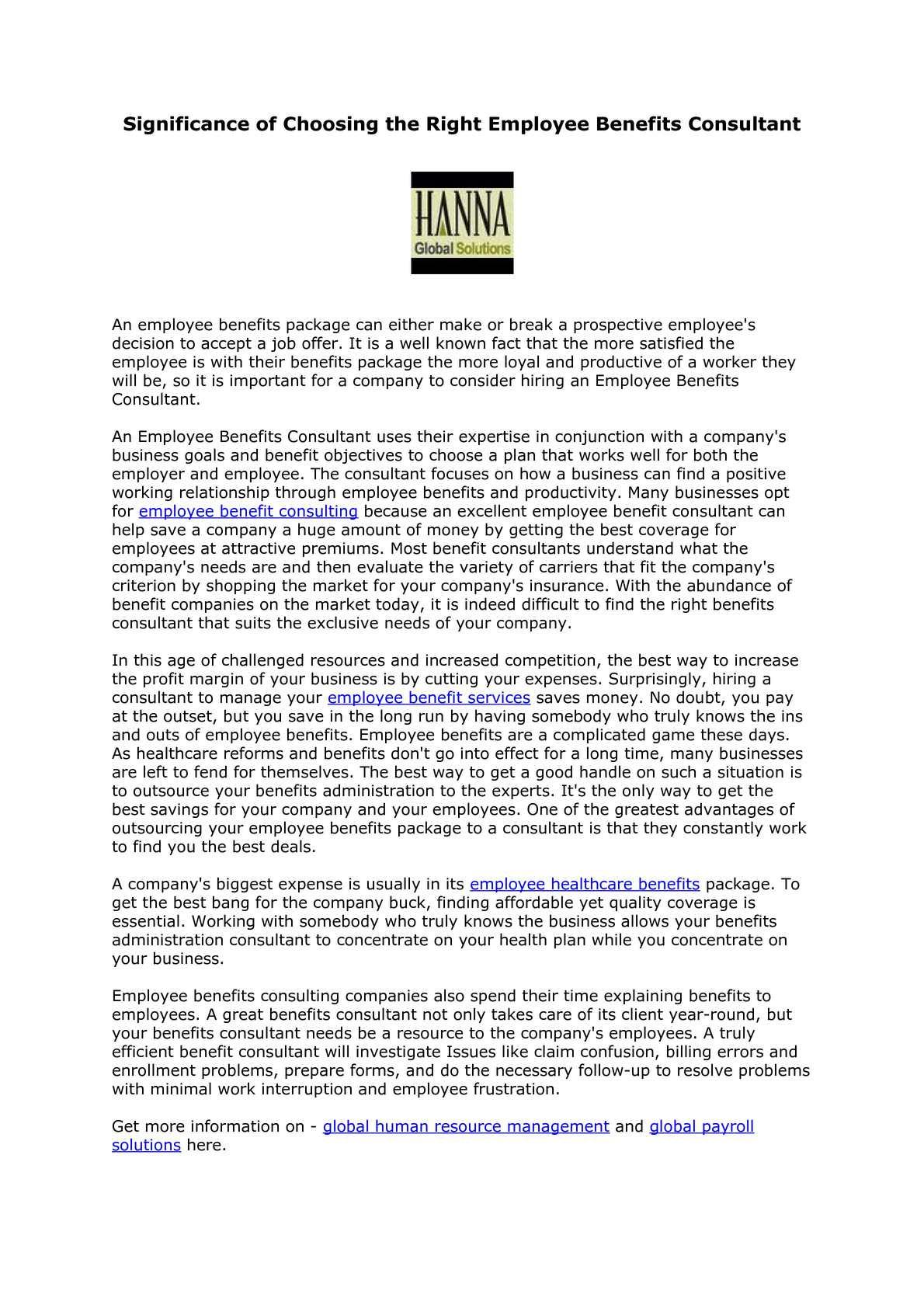 benefits consultant job description