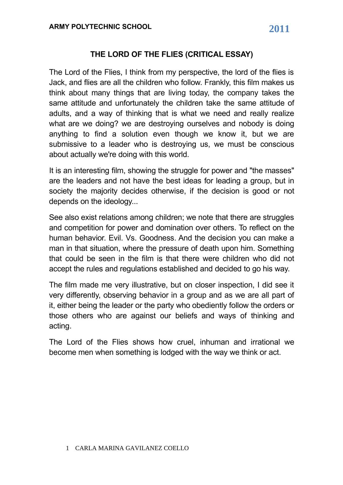 lord of the flies fear essay lord of the flies grade academic  lord of the flies power essay calamatilde131acirccopyo the lord of the flies critical essay