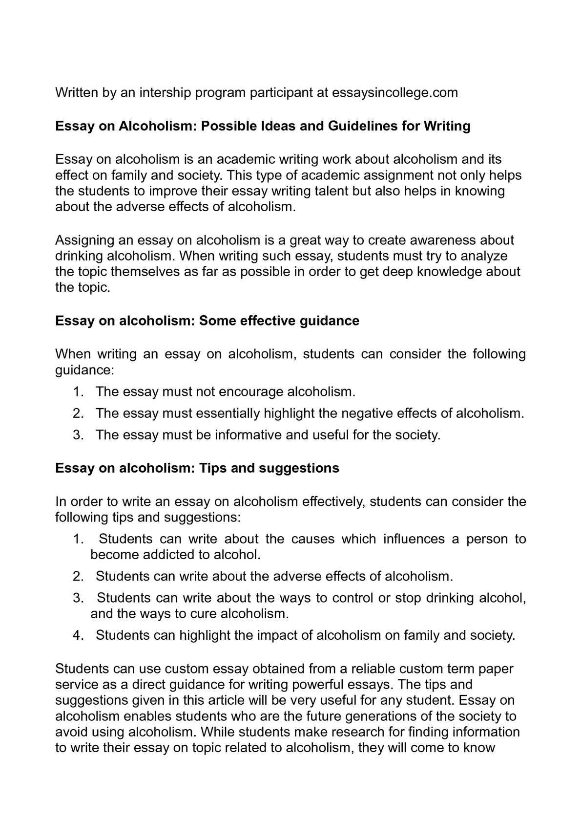 alcohol essay conclusion