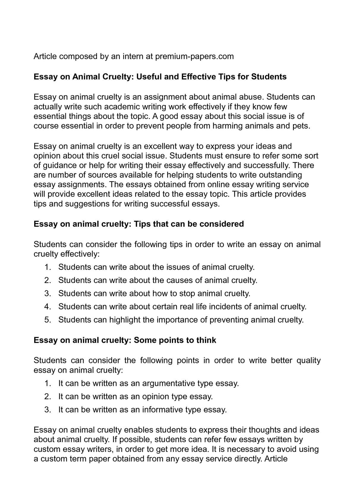Animal cruelty essays