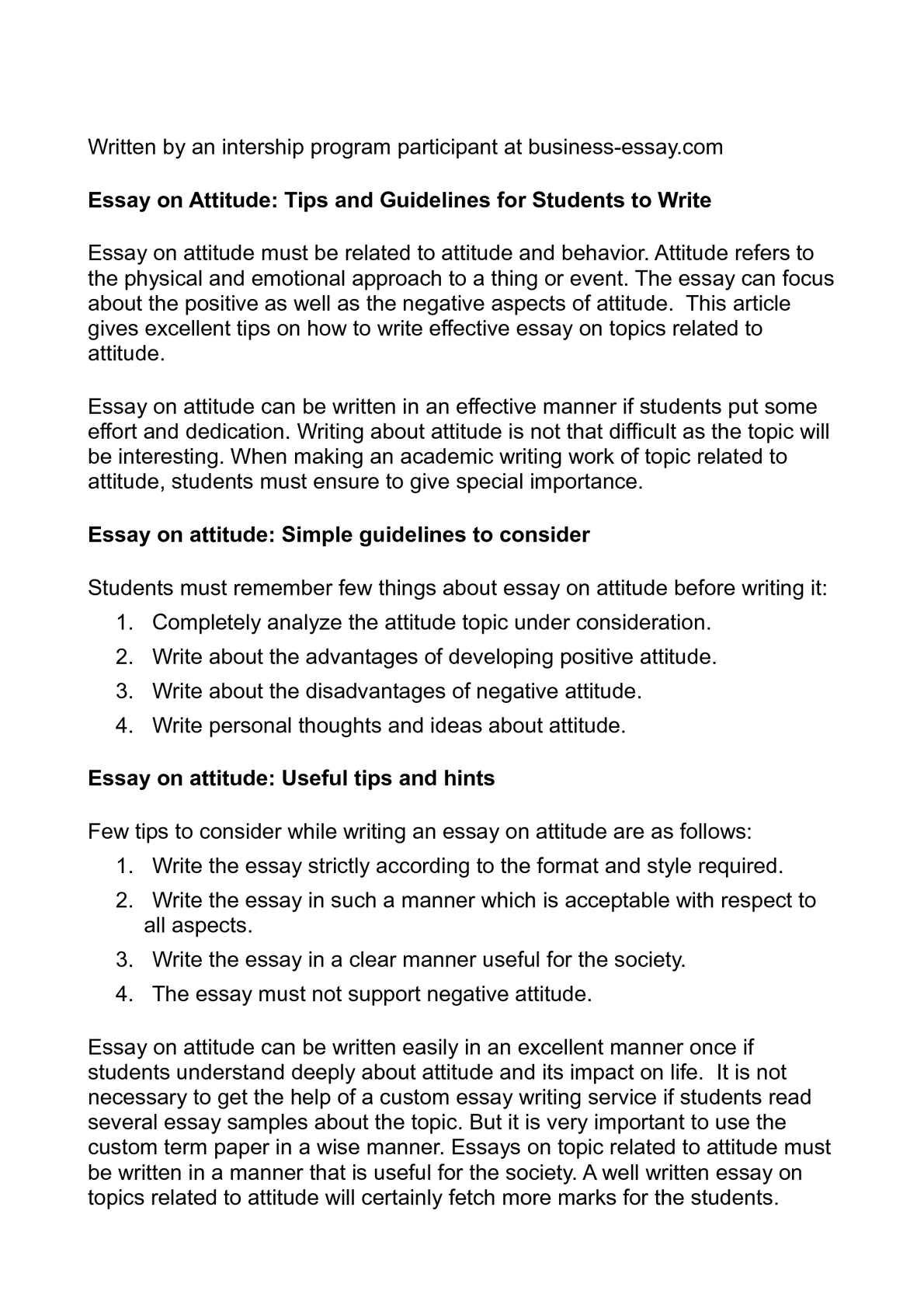 Academic attitude essay