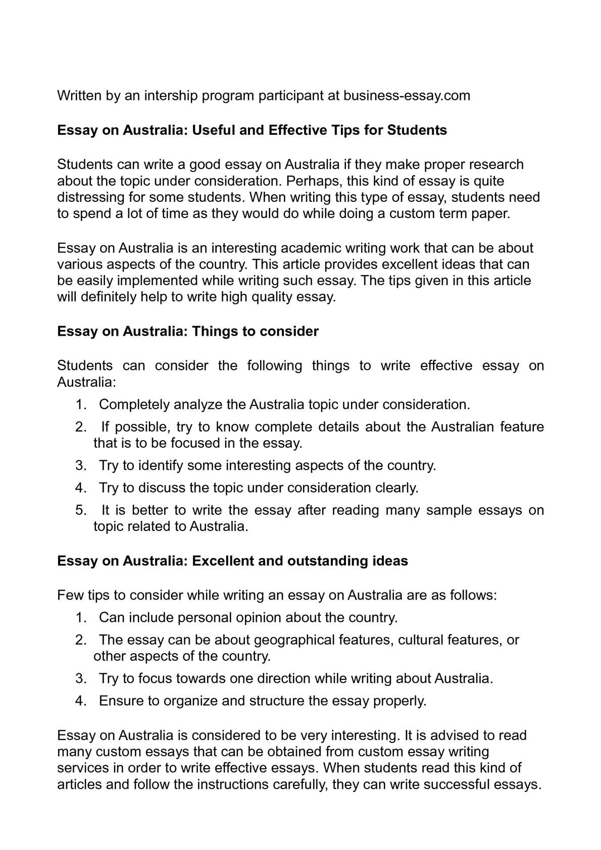 Australia Essay Writing
