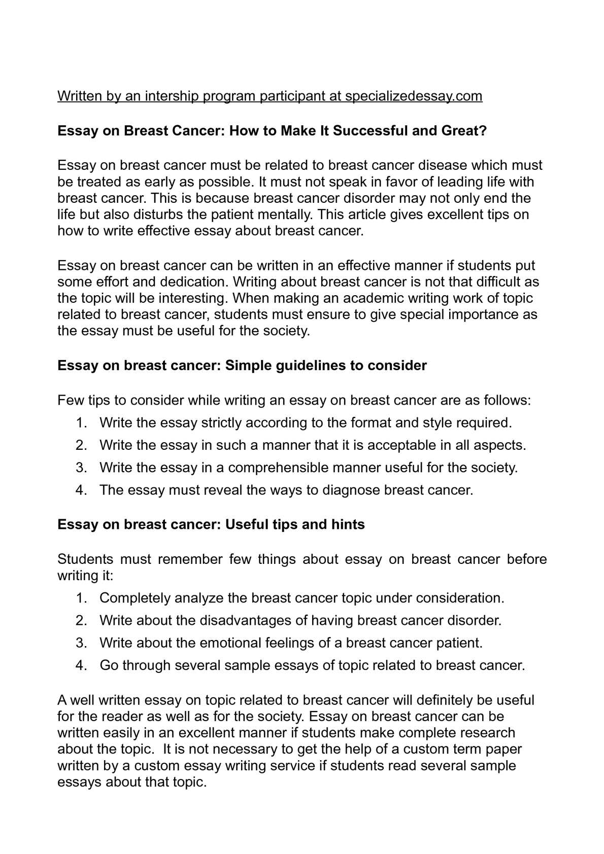 Calam O Essay On Breast Cancer How To Make It Successful