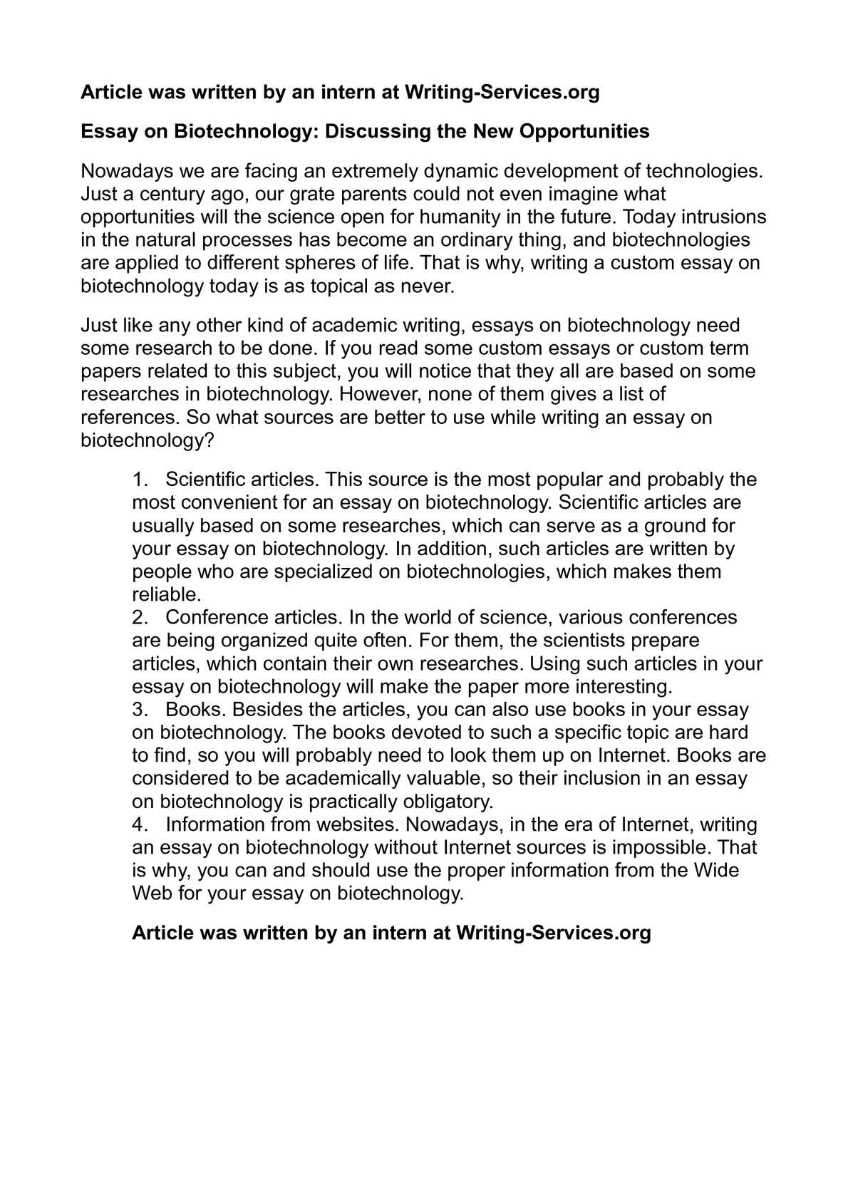 Biotechnology essay topics how to write an essay objectively