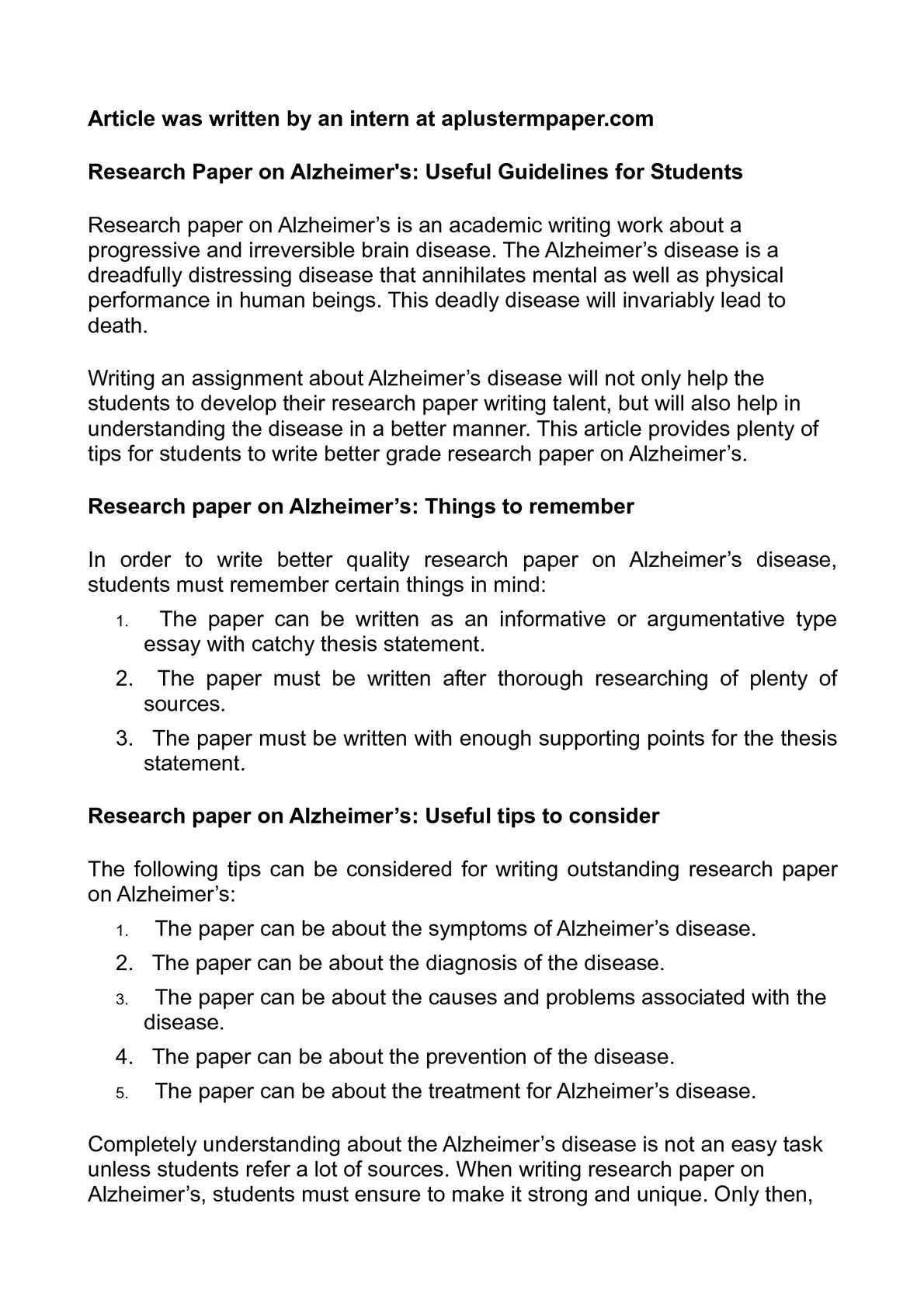 A Research Paper on Alzheimer's Disease - Free Essay Example | blogger.com