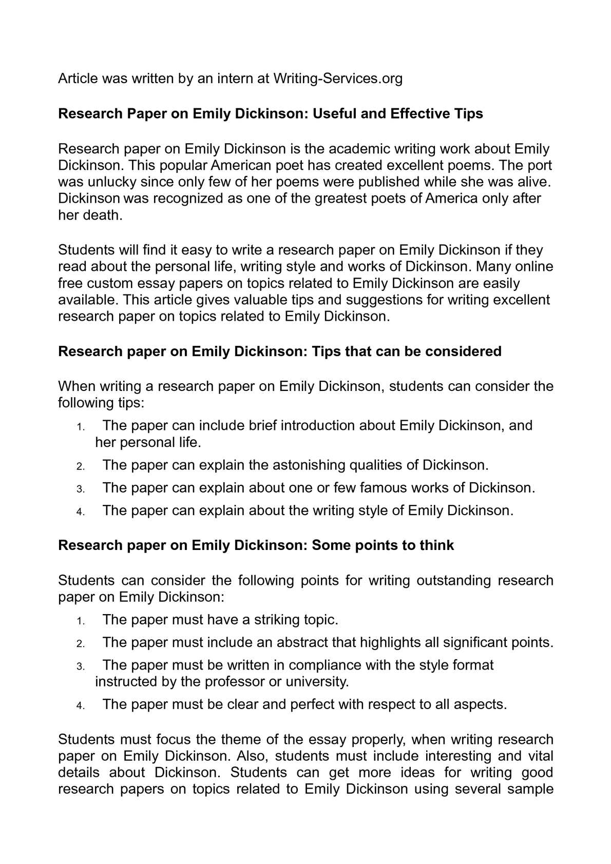 Emily dickinson free research paper homework architects chembur