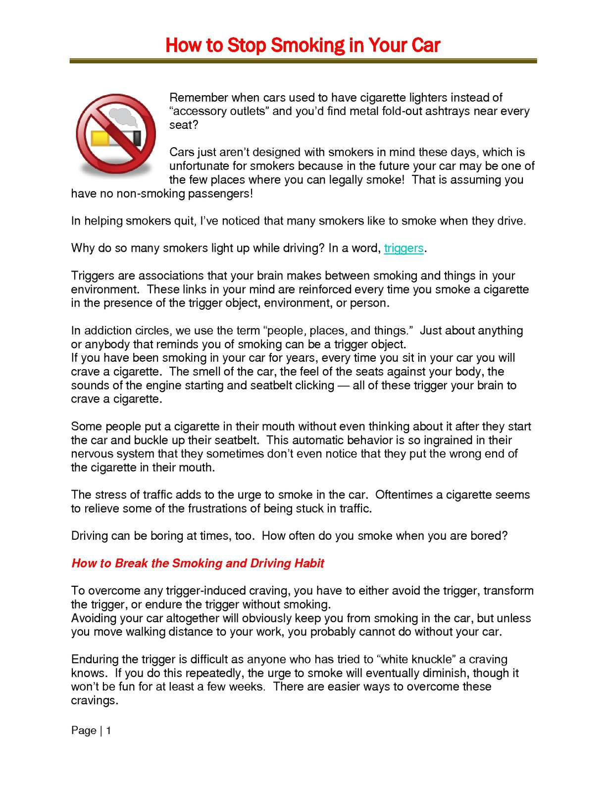 Calaméo - How to Stop Smoking in Your Car
