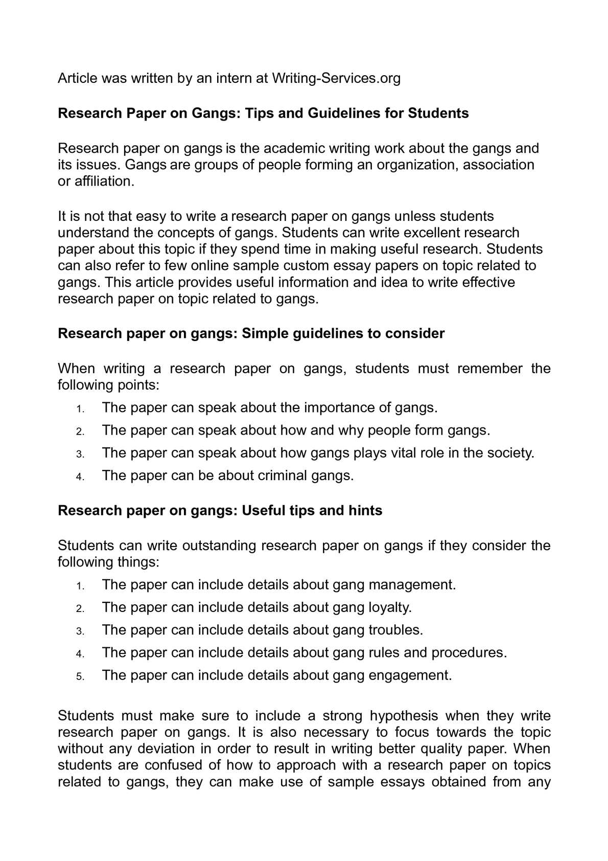 research paper on gangs tips and guidelines for students