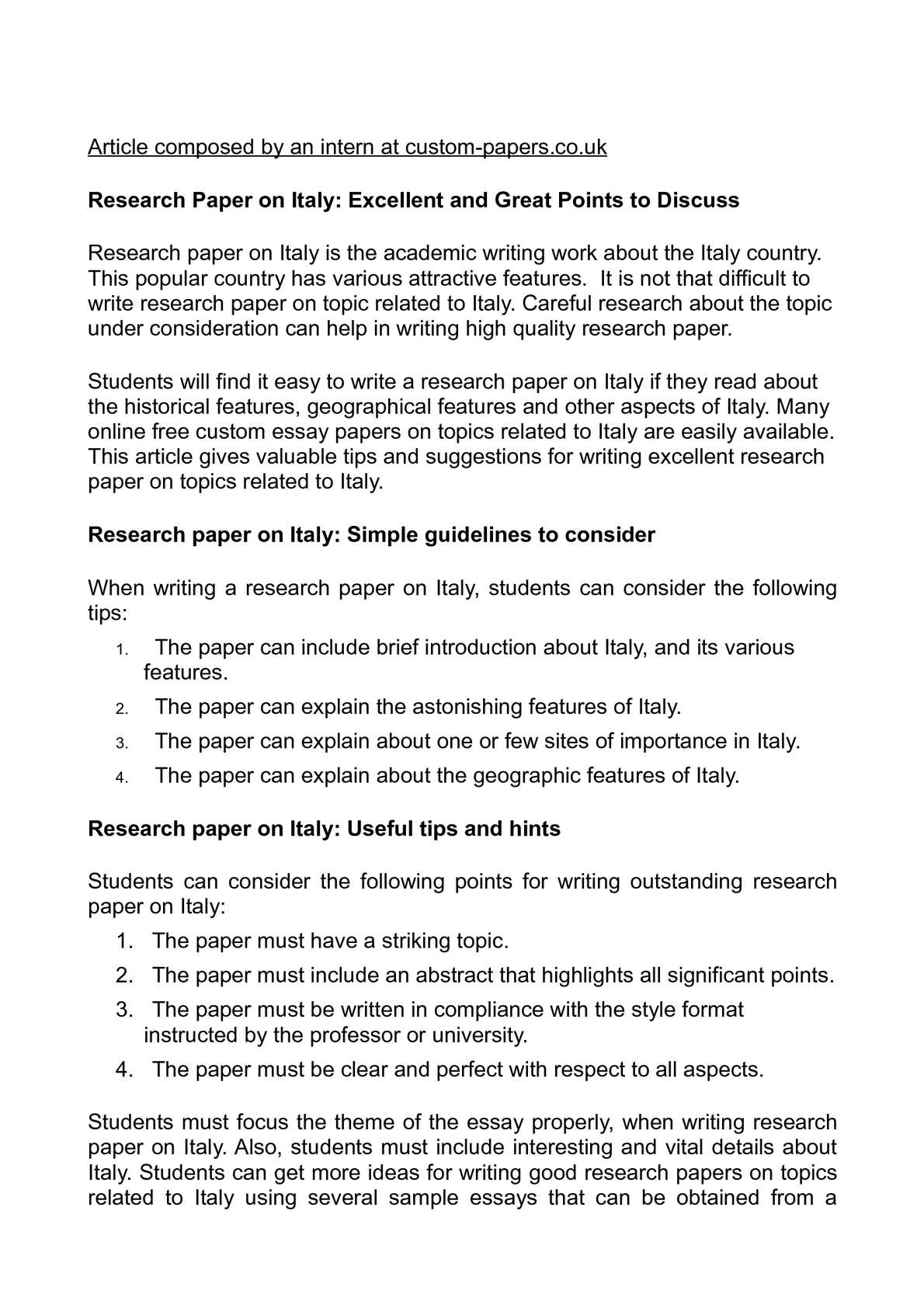 research paper how towards publish italian