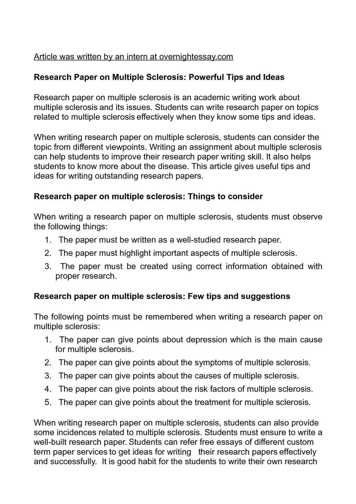 Multiple sclerosis research paper