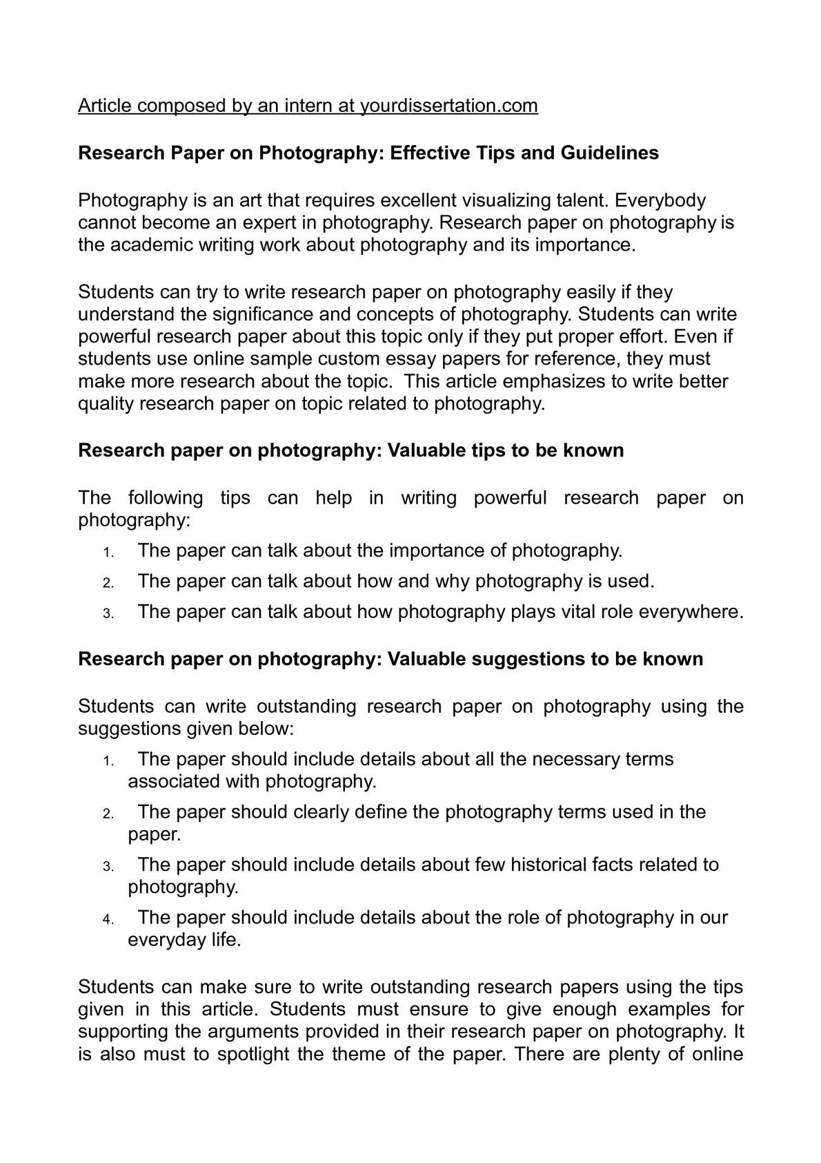 Research paper on photography