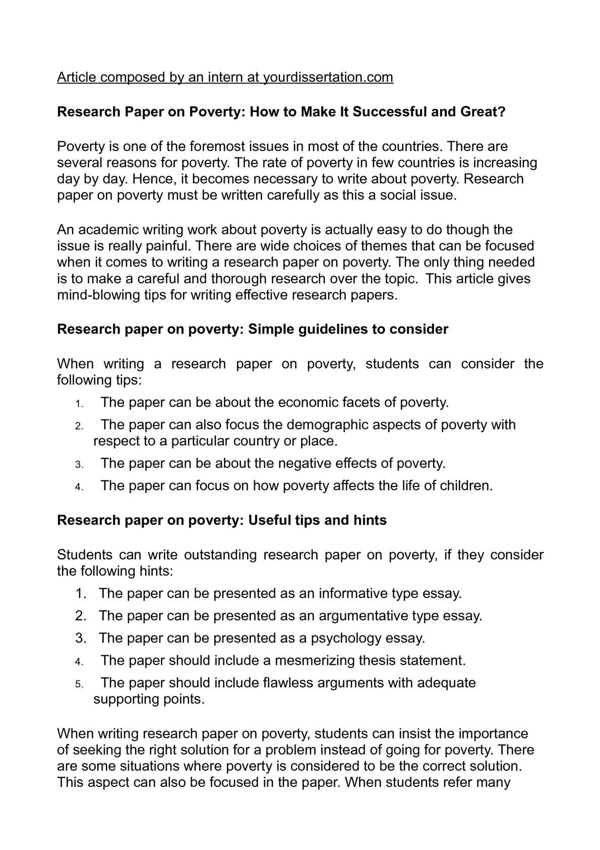 Poverty essay thesis