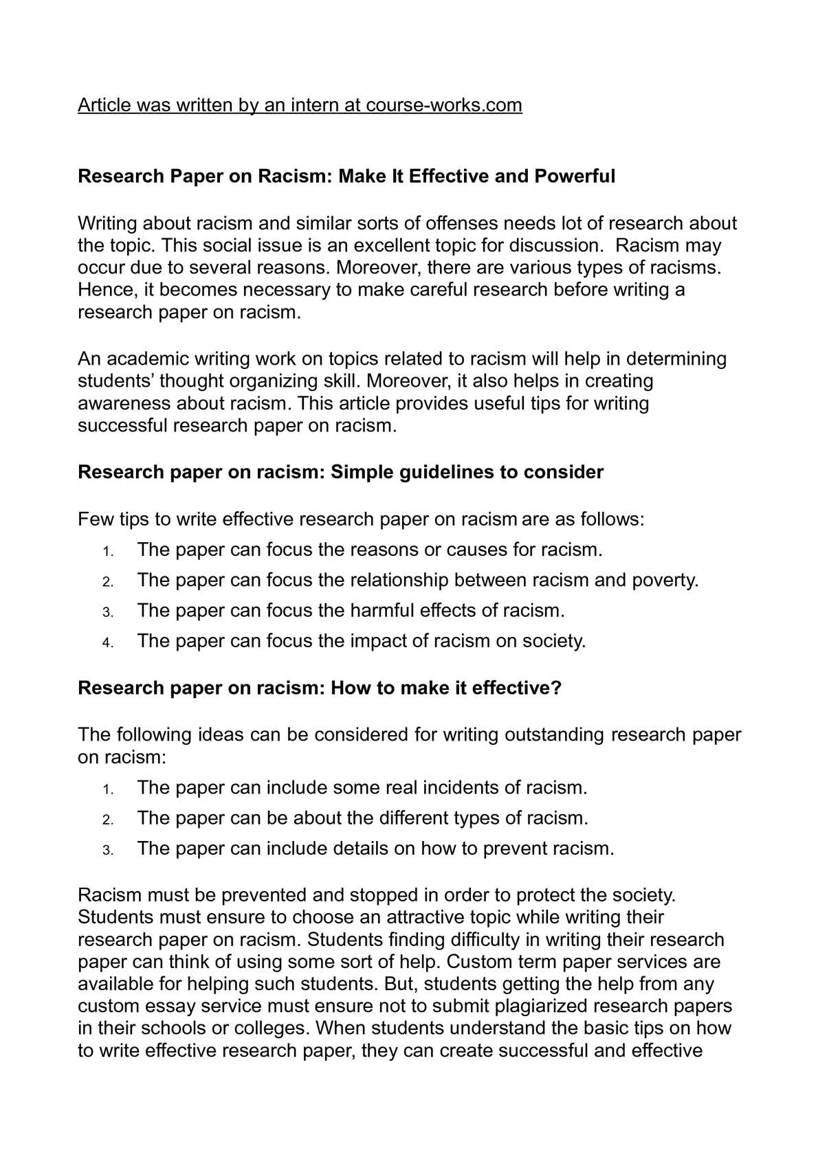 Racial discrimination research paper