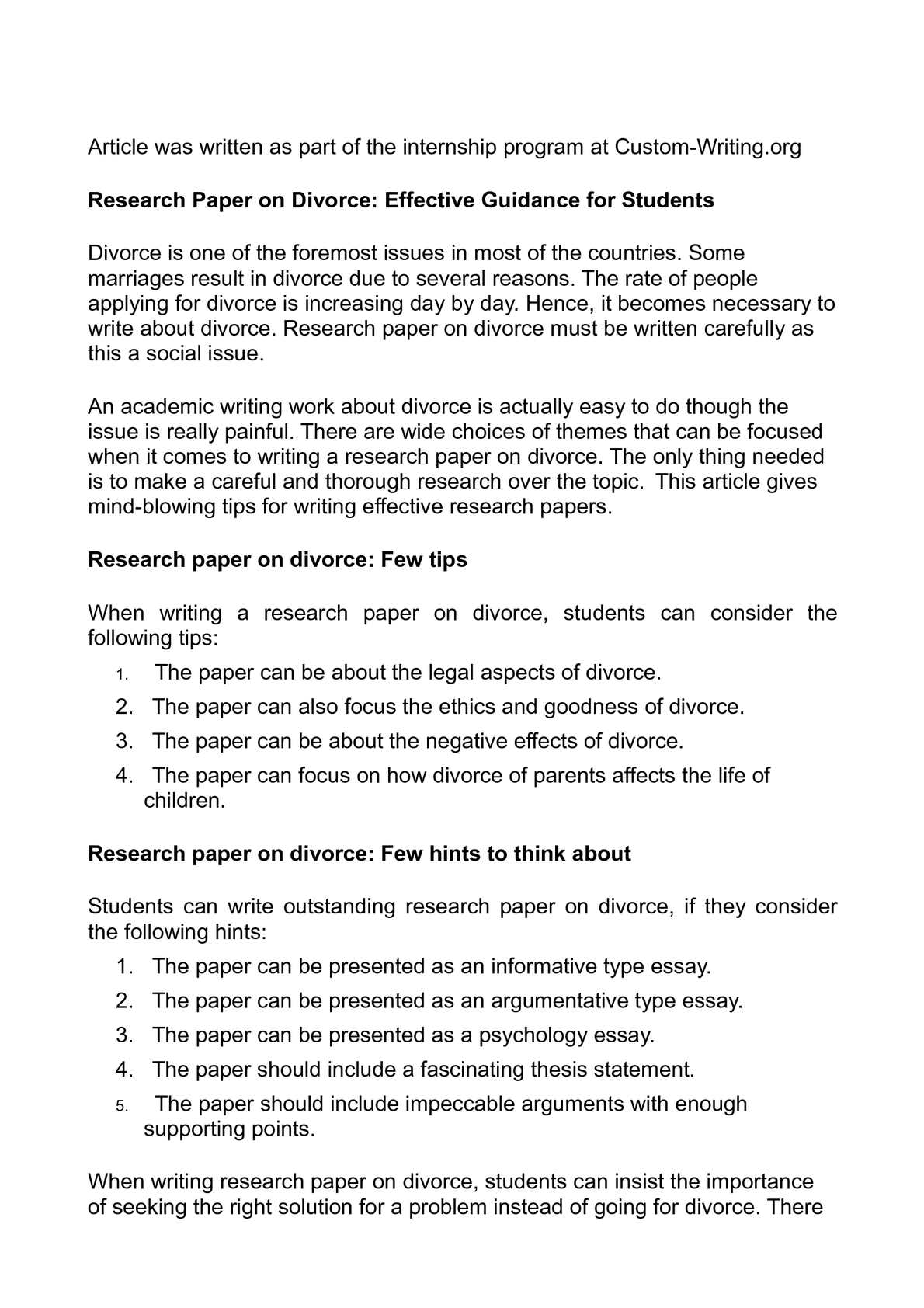 divorce research papers