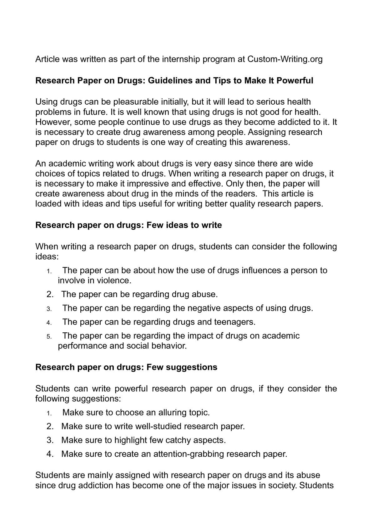 Research paper topics related to drugs