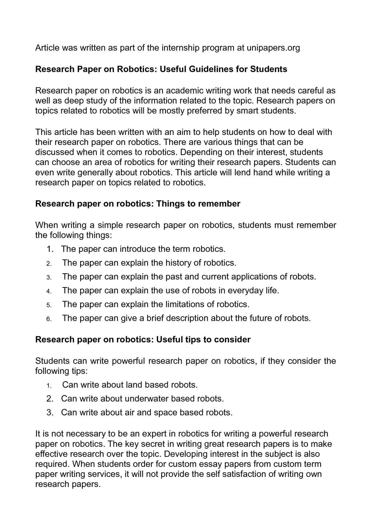 term paper on robotics