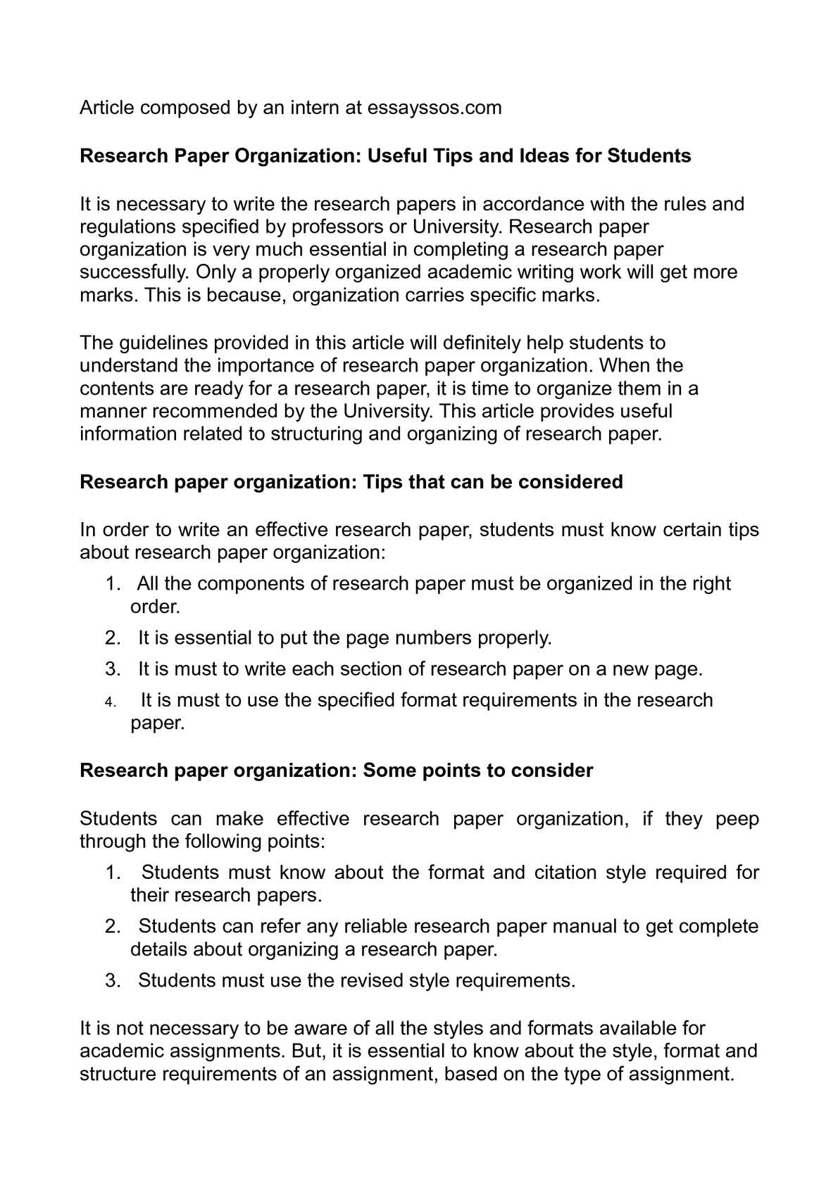 How To Organize A Research Paper