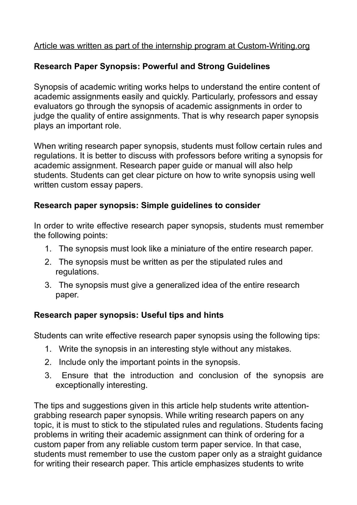 Calaméo - Research Paper Synopsis: Powerful and Strong Guidelines