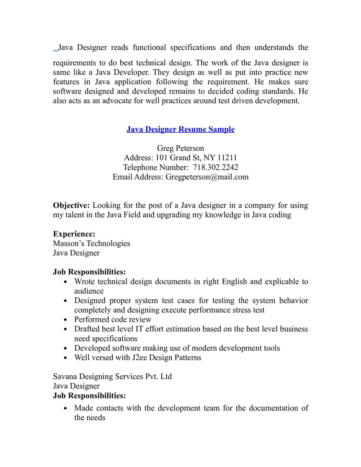 Calaméo - Java Designer Resume