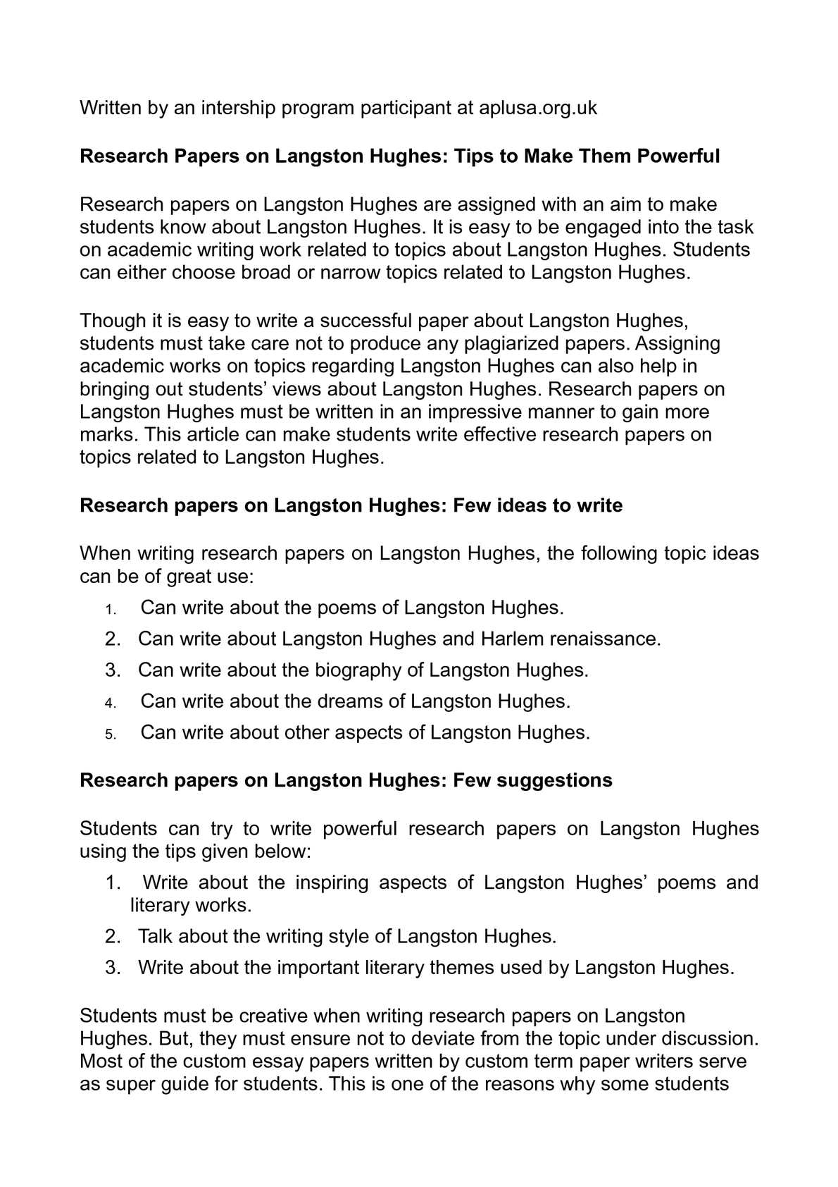 Calaméo Research Papers On Langston Hughes Tips To Make