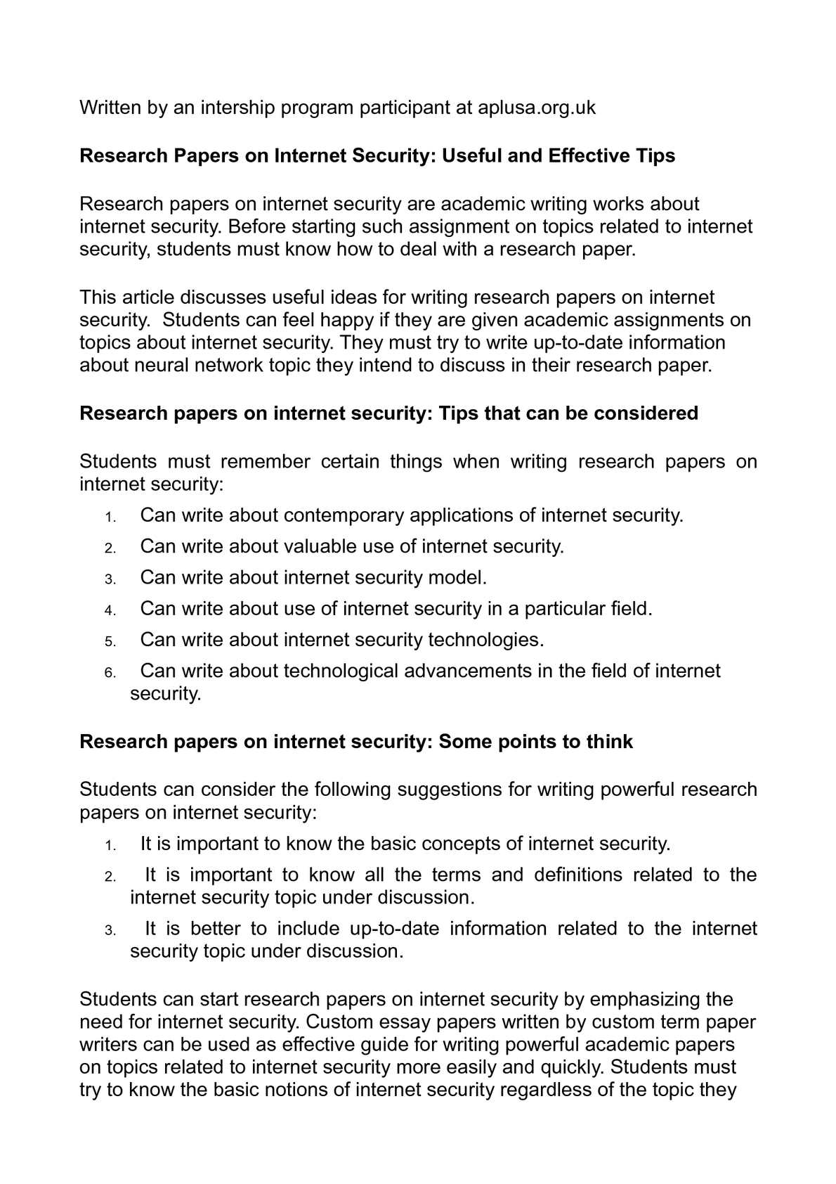 Internet security essay