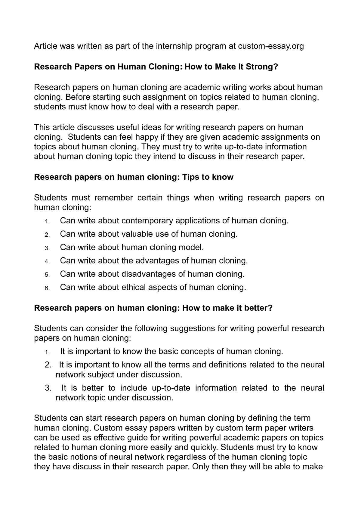 human cloning articles pdf