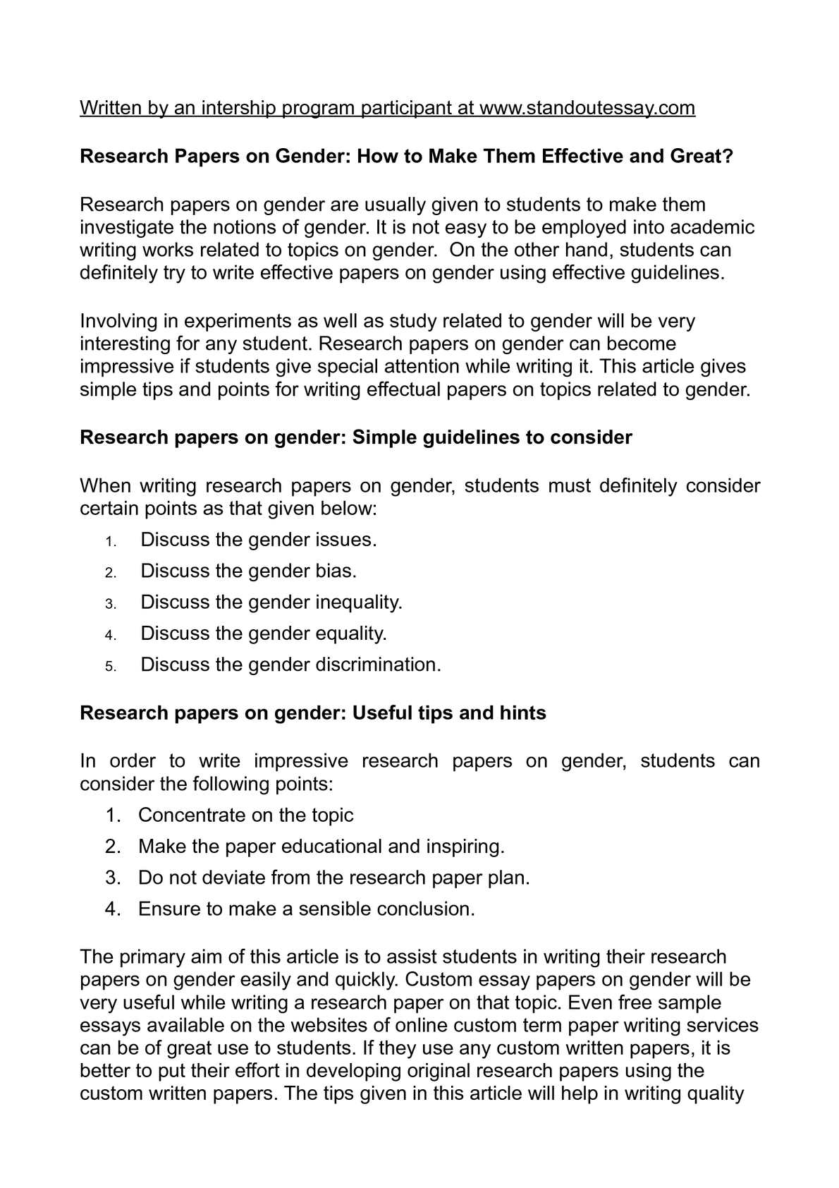 Gender discrimination research papers dissertation geographic location