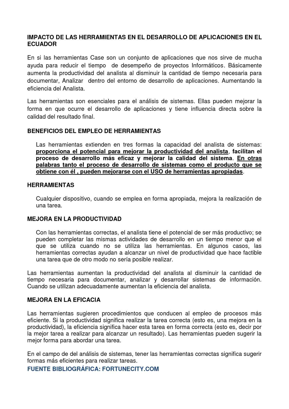 Impacto de las herramientas CASE en el desarrollo de Aplicaciones en el Ecuador