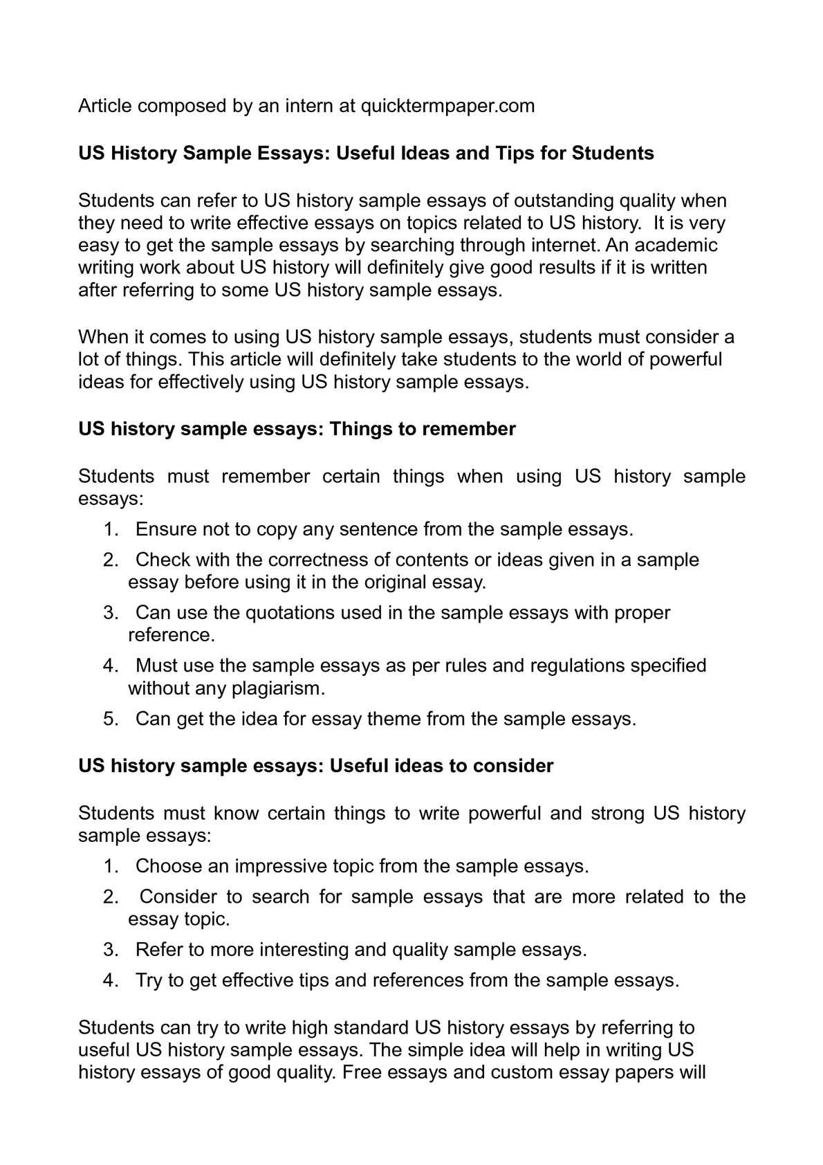 Sample history essay