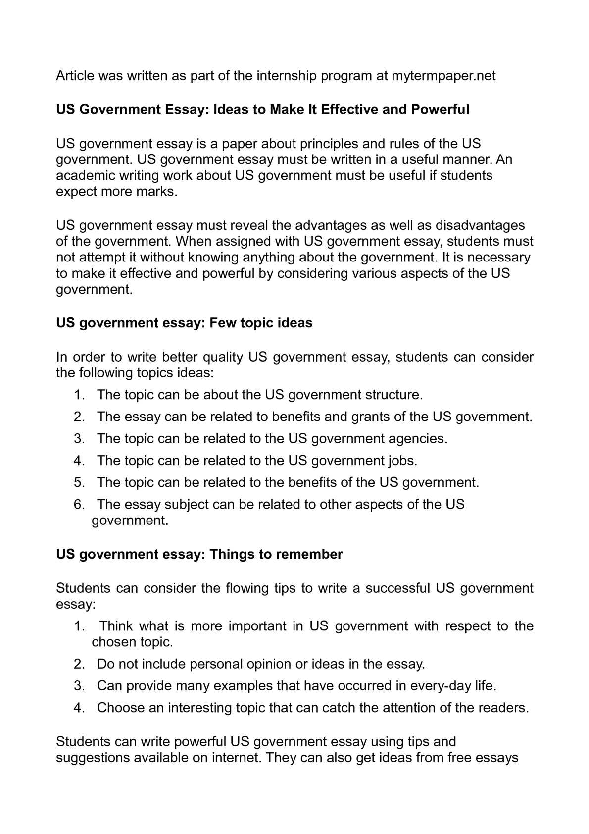 short essay on government