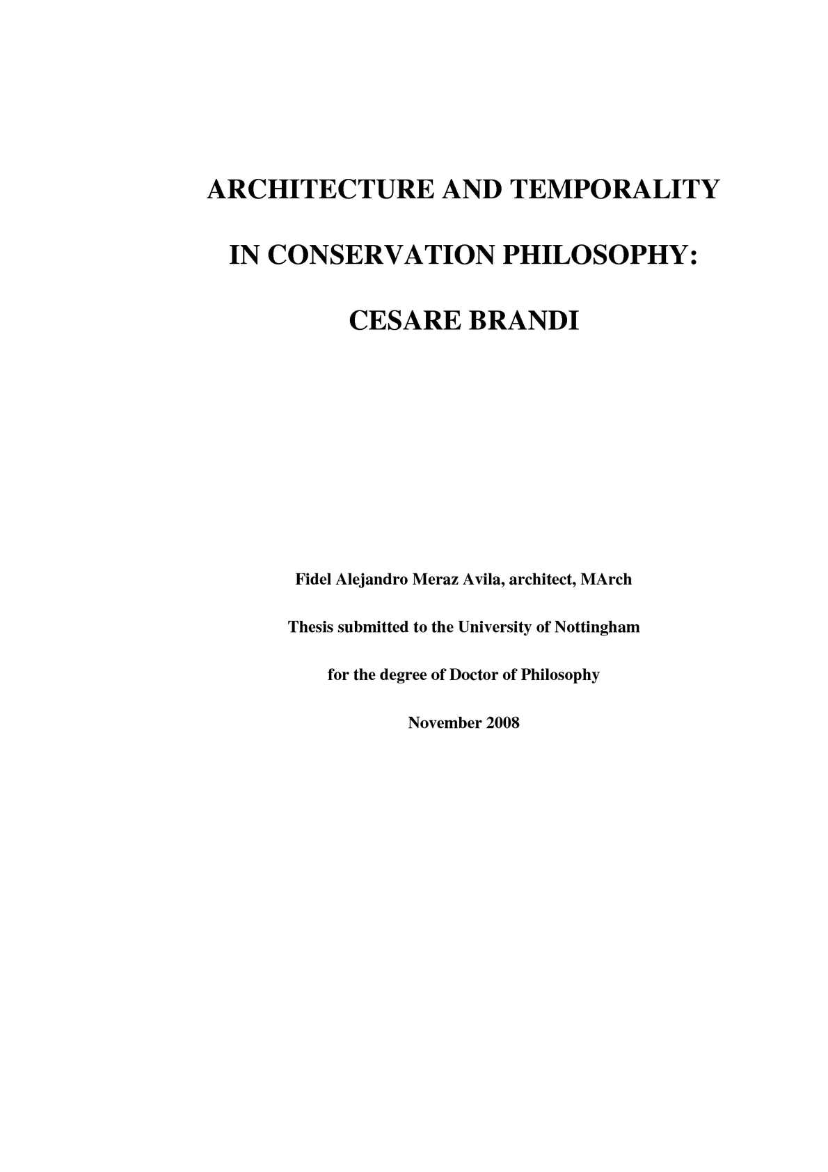 Calameo Meraz F A Architecture And Temporality In Conservation Philosophy Cesare Brandi 2008