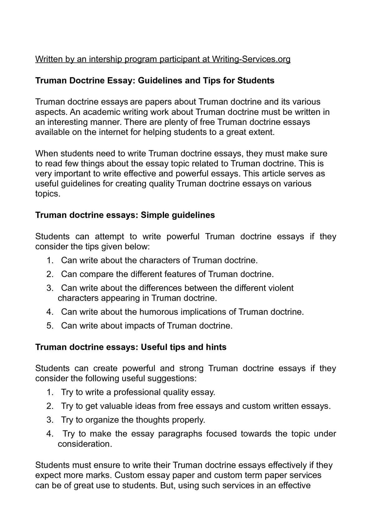 Johnson's Doctrine Essay Sample