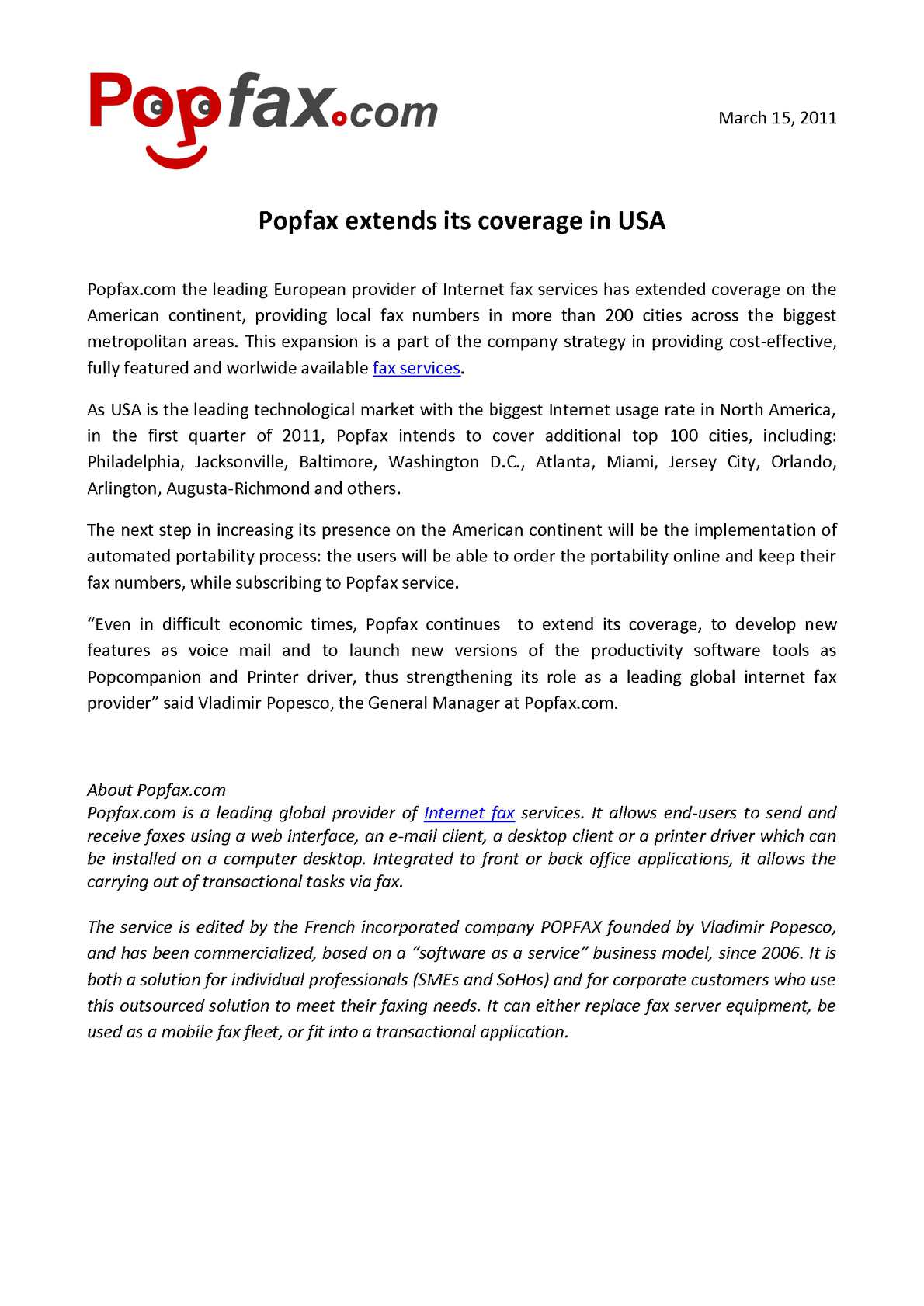 Calaméo - Popfax extends its coverage in USA