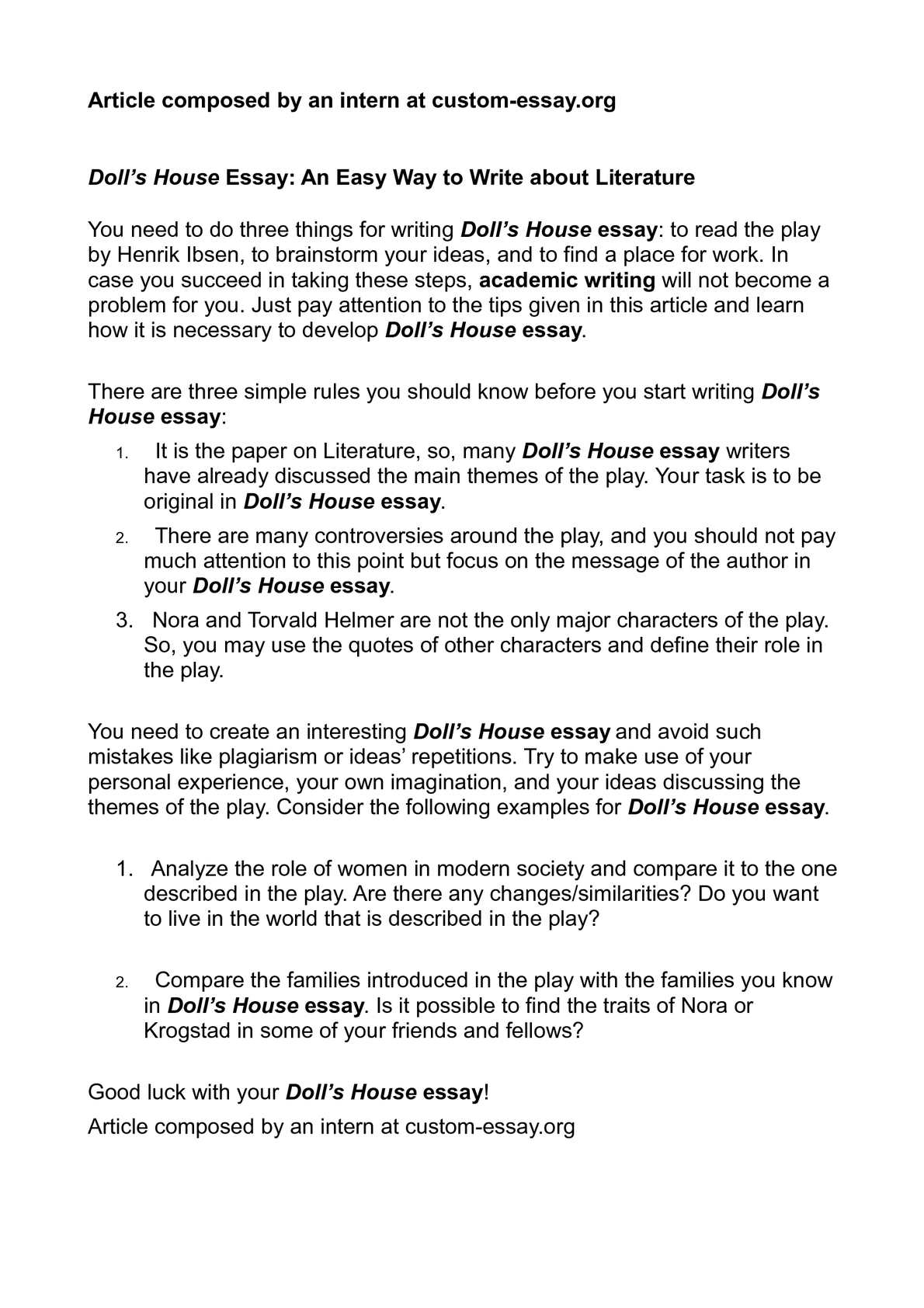 doll s house essay an easy way to write about literature