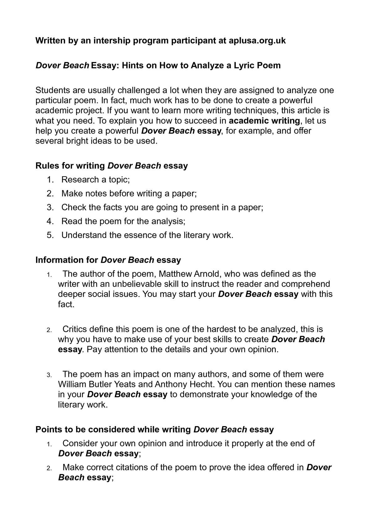dover beach essay hints on how to analyze a lyric poem