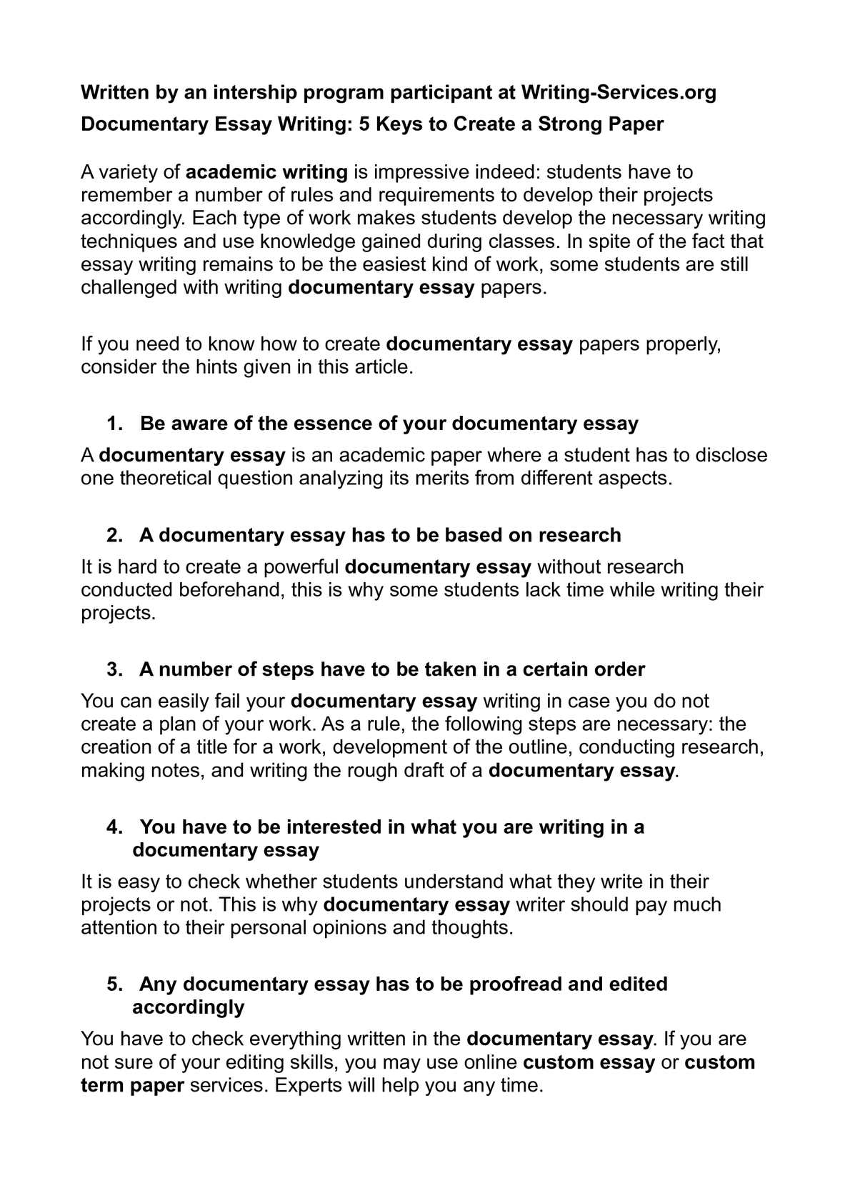 Thesis Essay Example  Thesis Examples In Essays also High School Application Essay Samples Calamo  Documentary Essay Writing  Keys To Create A  Example Of A College Essay Paper