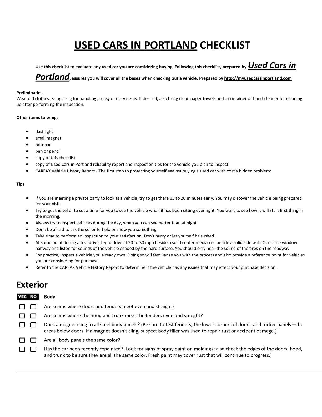 Calameo Used Cars In Portland Car Buying Checklist