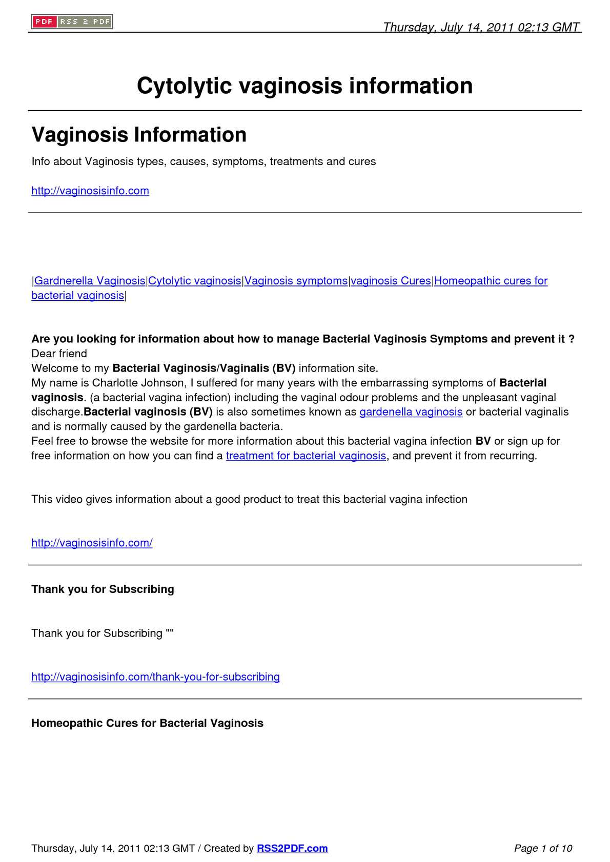 Calaméo - Ways to live with cytolytic vaginosis