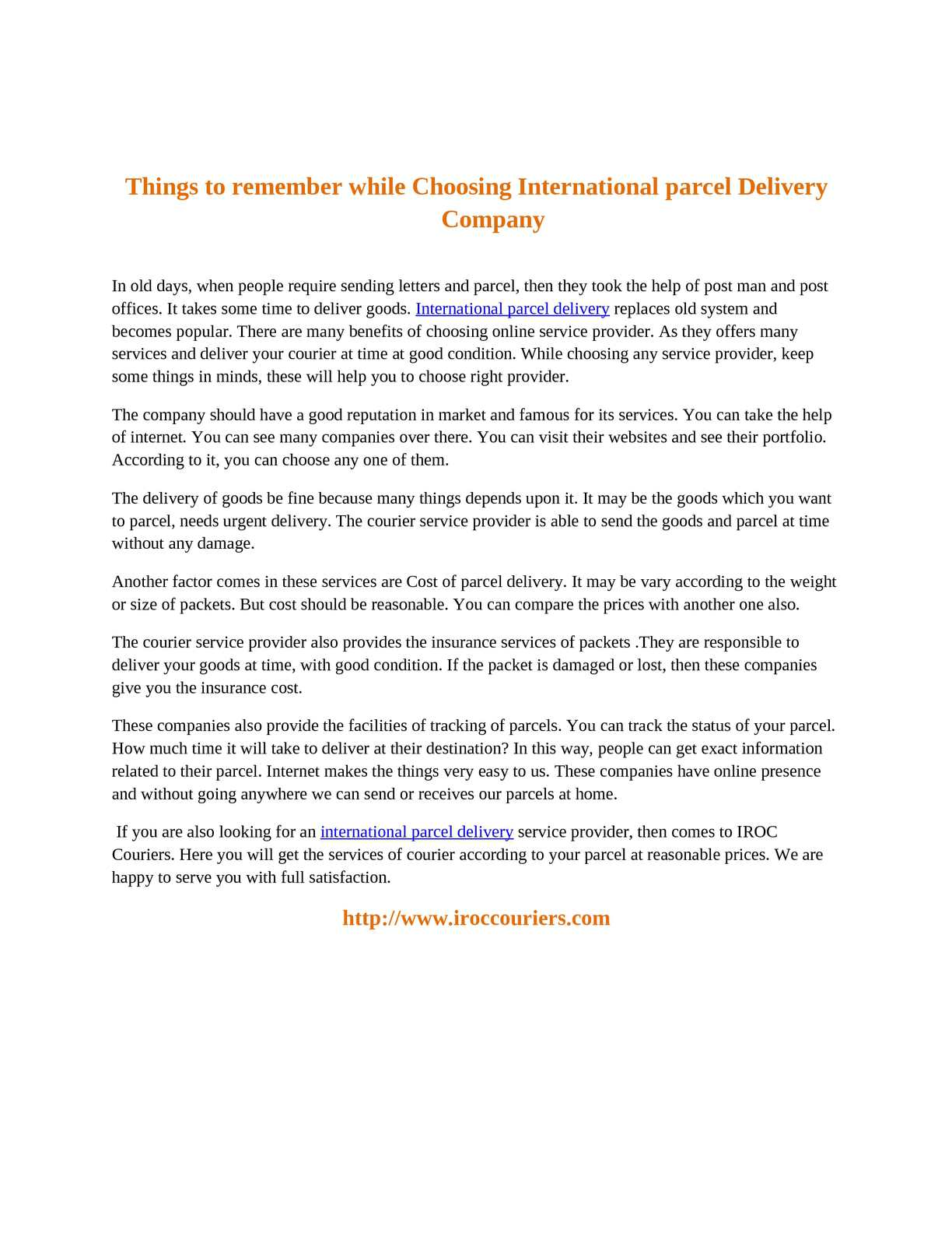Calaméo - Things to remember while Choosing International parcel
