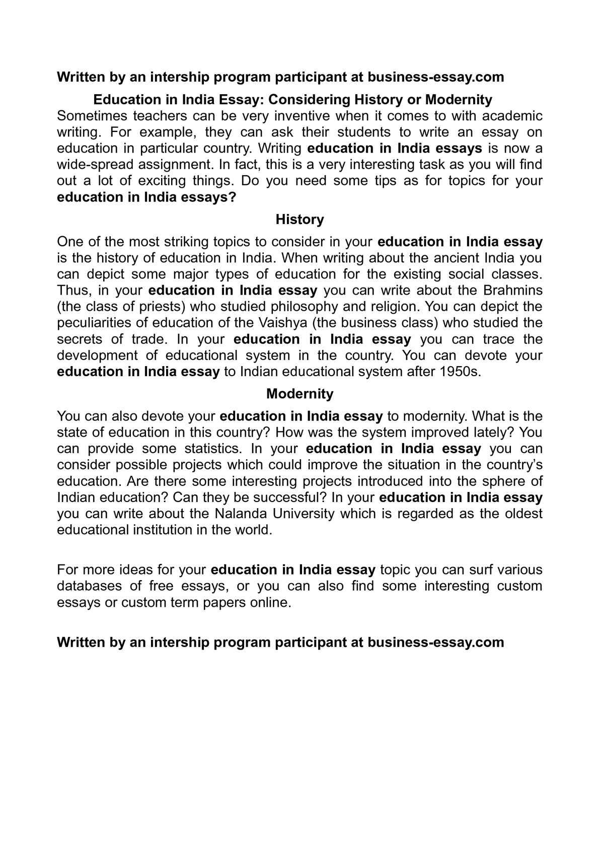 Education for all essay india