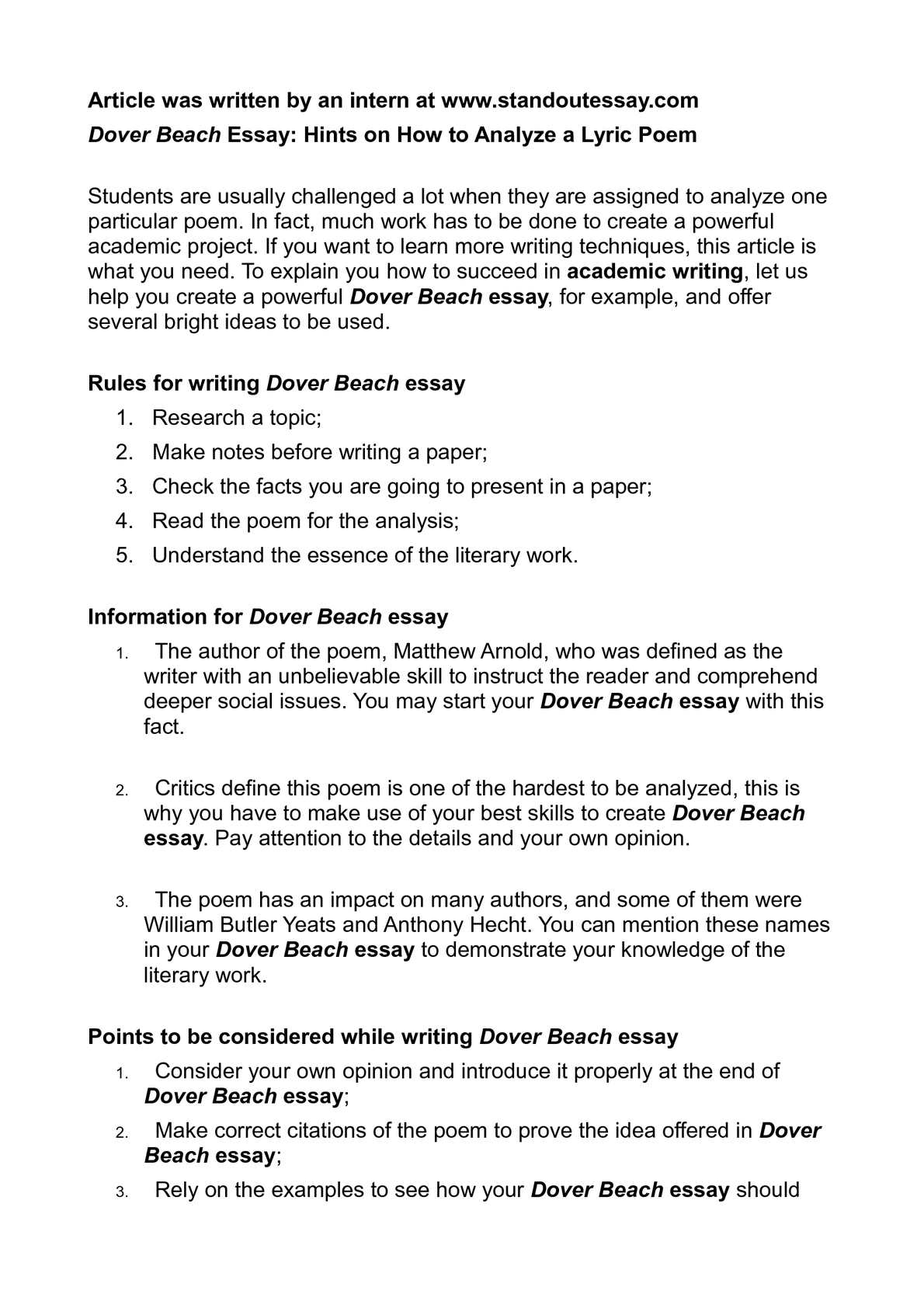 Dover beach research papers