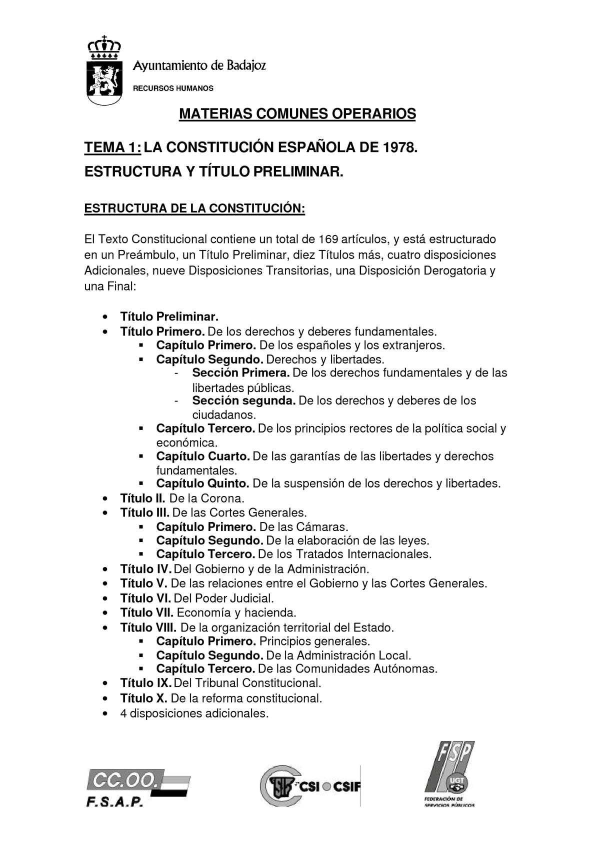Calaméo Materias Comunes Oposición Ayuntamiento Badajoz