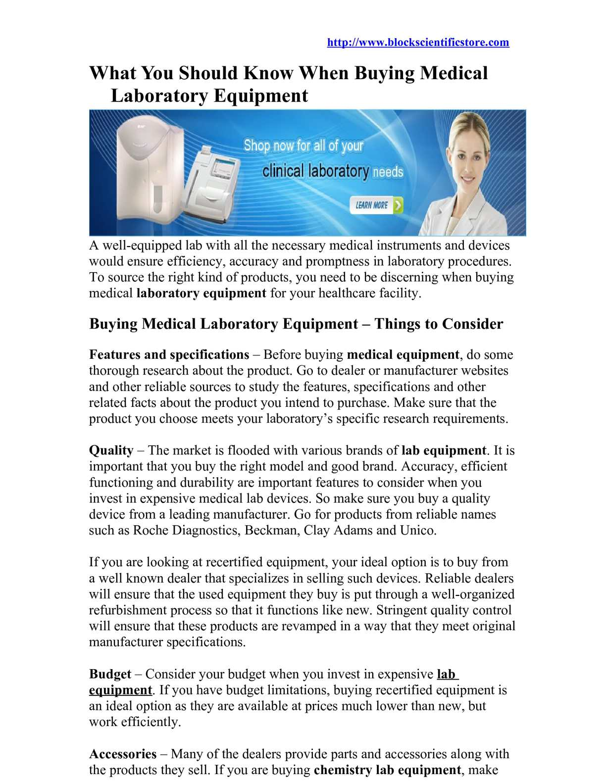 Calaméo - What You Should Know When Buying Medical Laboratory Equipment